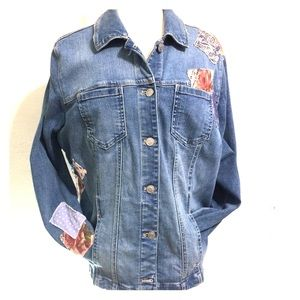 Chico's Jean Jacket with floral patches